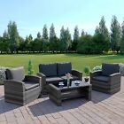Rattan Weave Garden Furniture Patio Conservatory 4 Seater Sofa Sets FREE COVER