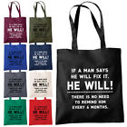 If A Man Says He Will Fix It Shopper Tote Bag - Funny Fathers Day Joke Gift Bags
