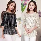 2015 Women's Dots Lace Chiffon Loose Tunic Blouse Tops Shirt T-Shirt M-XXL N4U8