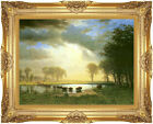 Framed The Buffalo Trail Albert Bierstadt Animal Painting Repro Canvas Art Print