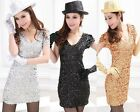Women Lady SexyCocktail Party Stretch Sequined Mini Dress Clubwear Stage Costume
