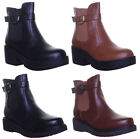 Womens Elastic Anke Strap Round Toe Slip On Ankle Boots