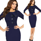Ladies Celebrity Style Cotton Bodycon Business Casual Pencil Cocktail Dress 968