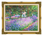 Framed The Artist's Garden at Giverny Claude Monet Art Repro Canvas Giclee Print