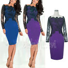 Women Ladies Long Sleeve Lace Formal Evening Cocktail Party Slim Dress S M L XL