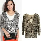 NEW Fad Lady Leopard Elasticity 3/4 Sleeve V-neck Air Conditioning Knit Cardigan
