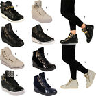 Ladies Wedge Heel Womens High Top Platform Ankle Boots Trainers Size 3 4 5 6 7 8