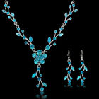 Women Fashion Wedding Jewelry Crystal Rhinestone Necklace Earrings Party Set New