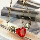ee44 Retro Red Peach Heart Angel Wings Facetted Gem Sweater Chain Necklace Wings