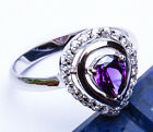 PEAR SHAPE  Faceted Amethyst & Russian CZ .925 Sterling Silver Ring Sizes 5-9