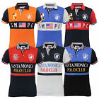 Mens Polo T Shirt Santa Monica Pique American USA Flag Top Short Sleeved Summer