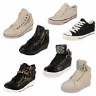 WOMENS HI TOP LACE WEDGE CANVAS FLAT PUMPS TRAINERS LADIES SHOE SIZE 3 4 5 6 7 8