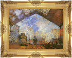 Framed Canvas Art Print La gare Saint Lazare Claude Monet Painting Reproduction