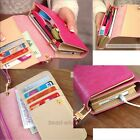 Handy Women PU Leather Purse Lady Long Handbag Wallet Phone Case Candy Color