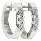 Excellent VS1/F 0.20TCW Natural Diamond Jewelry White Gold Hoop Huggies Earring