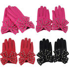 Fashion Women Ladies Rivets Butterfly Bow Soft Leather Winter Gloves Trendy