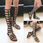Fashion Sexy Gladiators Boots Punk Gothic Side Zip Strappy FLATS SANDALS Shoes