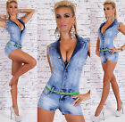 Women's Stretch Denim Jeans Romper Overall + Belt - XS / S / M / L / XL