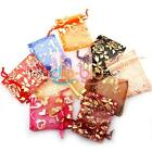 50/100 PCS Organza Jewelry Pouch Bags 7x9cm Mixed Color Wedding DBUS