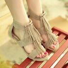 Tassels Fringes Womens Roma Open Toe Hollow out FlAT Pumps Gladiator Sandals