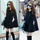 Womens  Loose Soft Winter Warm Batwing Cape Wool Blend Cloak Poncho Coat Jacket