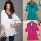 PLUS SIZE Women Ladies Short Sleeve Embroidery Loose Tee Shirt Casual Blouse Top