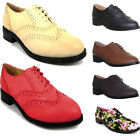 9772 Womens Ladies Lace up Thick Sole Block Heel Wingtip Brogue Boyfriend style