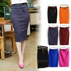 New Women OL High Waist Straight Solid Stretch Bodycon Pencil Dress Midi Skirt