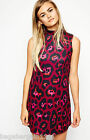 RRP £35 NEW ASOS RED PINK BLACK ANIMAL PRINT SUMMER SHIFT DRESS PARTY SIZE 4-18