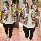 Fashion Women Casual Jacket Stand Collar LongSleeve Zipper Floral Print Top Coat