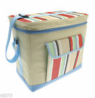 XL Cooler Bag with Front Pocket, Beach Picnic Camping Ice Cool, Blue Red Stripes
