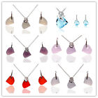 Vogue 18k Gold Plated Austrian Crystal Dolphin Necklace Jewelry Sets In 6 Color