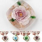 Handmade Inside Flower Lampwork Glass Rhombus Murano Pendant Charm Fit Necklace