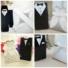 100pcs Tuxedo & Dress Groom Bridal Wedding Party Favor Gift Ribbon Candy Boxes