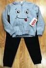 Fisher Price Boy's Gray Smiley Face Hoodie & Black Pants 2 Piece Outfit NWT