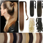 Thick Clip In Hair Extension wrap around clip on ponytail hair real natural hs36