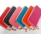 1PC Lovely Gold Metal Chain Decorated Lady Zipper Wallet Checkbook Bag Purse