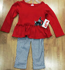 Fisher Price Girl's Kitty 2 Piece Black White & Red Outfit New with Tags
