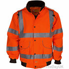 Hi Viz Bomber Jacket Lightweight Waterproof Rail Work Coat Orange High Visibilty
