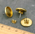 Bronze Silver Brass Earring Post Ear Stud 10mm 12mm 14mm 16mm Cab Bezel m91