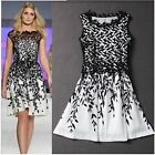 Elegant Womens Embroidery Lace Salix Leaf Print Sleeveless Short Mini Dress - CB