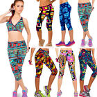 Women High Waist Printed Stretch Casual Fitness Cropped Leggings YOGA Sport Pant