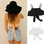Womens Sexy Casual Little Vest Harness Bra  Spaghetti Strap Loose Chiffon Blouse