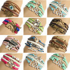 Women Love Heart Friendship Silver Multilayer Leather Charm Bracelet Bangle Wrap