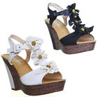 11959 womens high platfrom wedge open toe flower ladies wedge sandals