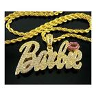 BARBIE iced out necklace gold and silver finish rhinestone celebrity style bling