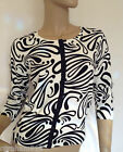 Kaleidoscope-Eye Catching Black & Ivory Swirl Cardigan Sizes 10 & 14  -ref C9
