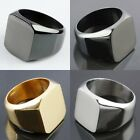 Men's Women's Stainless Steel Flat Face Biker Finger Rings Silver/Golden/Black