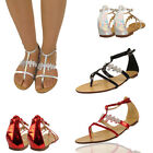 Ladies Toe Post Women Bridal Party Diamante Gladiator Flat Summer Design Sandals