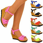 Womens Ladies Casual Everyday Ankle Strap Mid Low Heel Wedges Sandals Shoes Size
